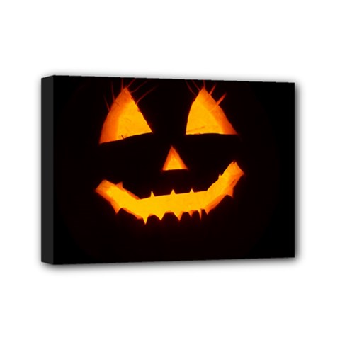 Pumpkin Helloween Face Autumn Mini Canvas 7  X 5