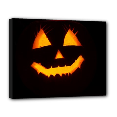 Pumpkin Helloween Face Autumn Canvas 14  X 11