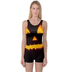Pumpkin Helloween Face Autumn One Piece Boyleg Swimsuit