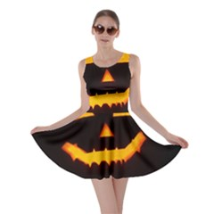 Pumpkin Helloween Face Autumn Skater Dress