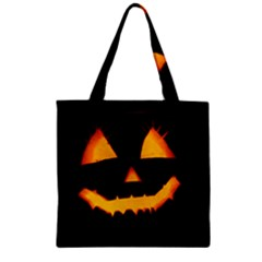 Pumpkin Helloween Face Autumn Zipper Grocery Tote Bag