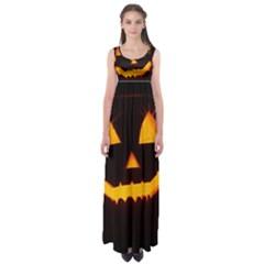Pumpkin Helloween Face Autumn Empire Waist Maxi Dress