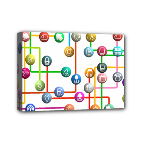 Icon Media Social Network Mini Canvas 7  X 5