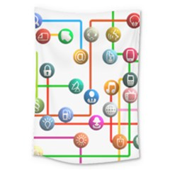 Icon Media Social Network Large Tapestry