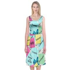 Stickies Post It List Business Midi Sleeveless Dress