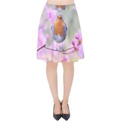 Spring Bird Bird Spring Robin Velvet High Waist Skirt
