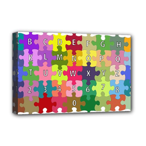 Puzzle Part Letters Abc Education Deluxe Canvas 18  X 12