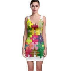 Puzzle Part Letters Abc Education Bodycon Dress