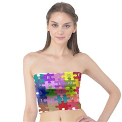 Puzzle Part Letters Abc Education Tube Top