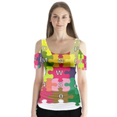 Puzzle Part Letters Abc Education Butterfly Sleeve Cutout Tee