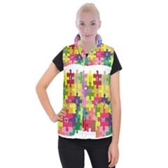Puzzle Part Letters Abc Education Women s Button Up Puffer Vest