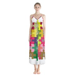 Puzzle Part Letters Abc Education Button Up Chiffon Maxi Dress