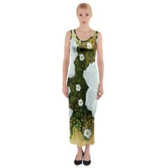 Summer Anemone Sylvestris Fitted Maxi Dress