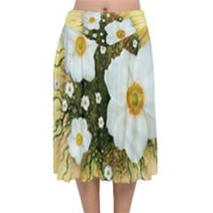 Summer Anemone Sylvestris Velvet Flared Midi Skirt