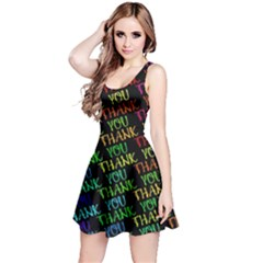 Thank You Font Colorful Word Color Reversible Sleeveless Dress