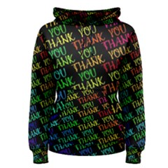 Thank You Font Colorful Word Color Women s Pullover Hoodie