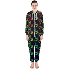 Thank You Font Colorful Word Color Hooded Jumpsuit (ladies)