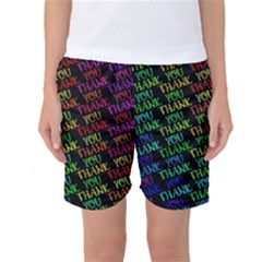 Thank You Font Colorful Word Color Women s Basketball Shorts