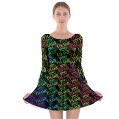 Thank You Font Colorful Word Color Long Sleeve Skater Dress