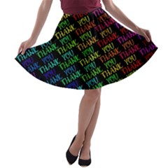 Thank You Font Colorful Word Color A Line Skater Skirt