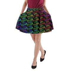 Thank You Font Colorful Word Color A Line Pocket Skirt