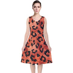 Skin5 Black Marble & Copper Paint (r) V Neck Midi Sleeveless Dress