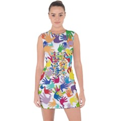 Volunteers Hands Voluntary Wrap Lace Up Front Bodycon Dress