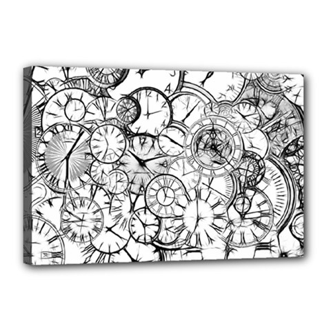 Time Clock Watches Time Of Canvas 18  X 12