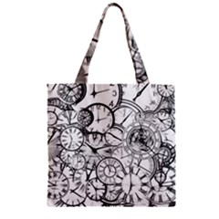 Time Clock Watches Time Of Zipper Grocery Tote Bag