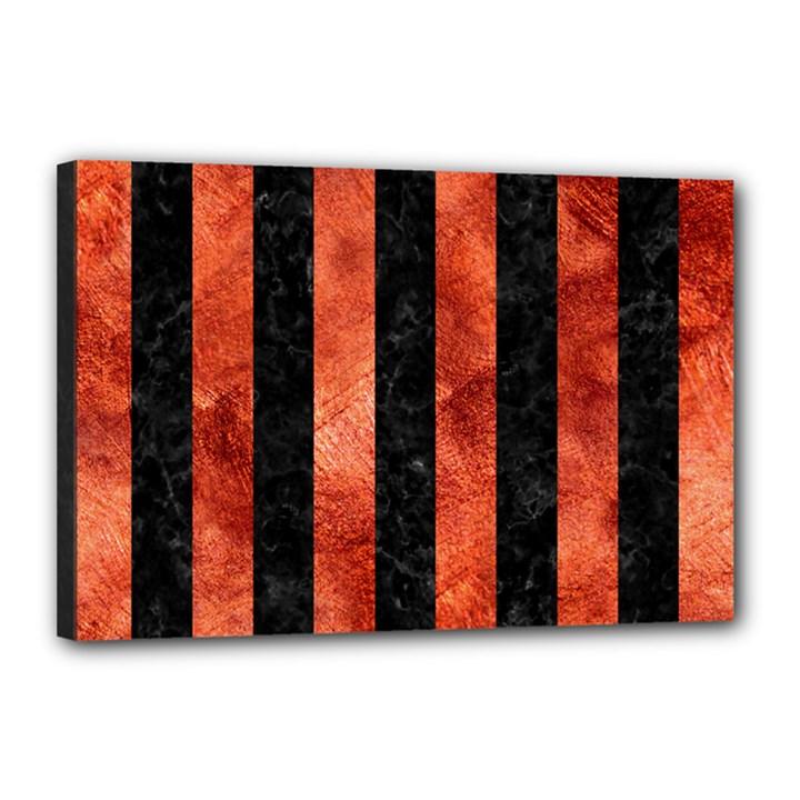 STRIPES1 BLACK MARBLE & COPPER PAINT Canvas 18  x 12