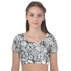 Time Clock Watches Time Of Velvet Short Sleeve Crop Top