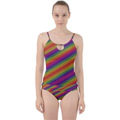Spectrum Psychedelic Green Cut Out Top Tankini Set