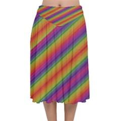 Spectrum Psychedelic Green Velvet Flared Midi Skirt