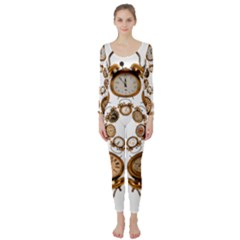 Time Clock Alarm Clock Time Of Long Sleeve Catsuit