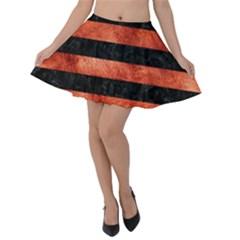 Stripes2 Black Marble & Copper Paint Velvet Skater Skirt