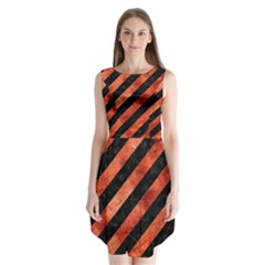 Stripes3 Black Marble & Copper Paint (r) Sleeveless Chiffon Dress