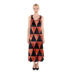 Triangle3 Black Marble & Copper Paint Sleeveless Maxi Dress