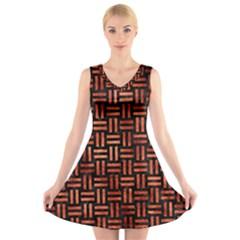 Woven1 Black Marble & Copper Paint (r) V Neck Sleeveless Skater Dress