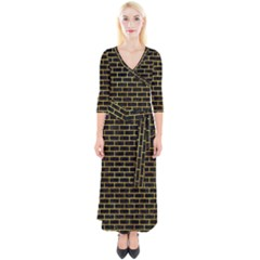Brick1 Black Marble & Gold Paint (r) Quarter Sleeve Wrap Maxi Dress