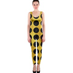 Circles1 Black Marble & Gold Paint Onepiece Catsuit
