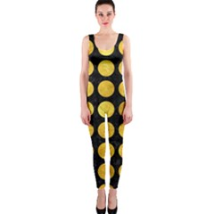 Circles1 Black Marble & Gold Paint (r) Onepiece Catsuit