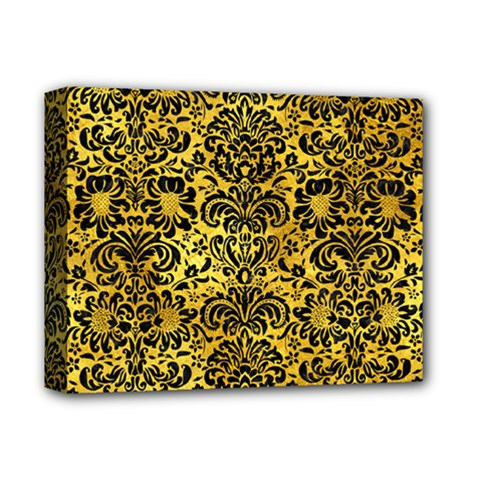 Damask2 Black Marble & Gold Paint Deluxe Canvas 14  X 11