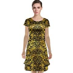 Damask2 Black Marble & Gold Paint Cap Sleeve Nightdress