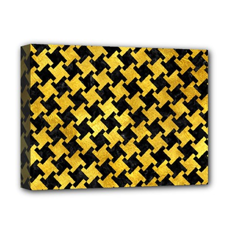 Houndstooth2 Black Marble & Gold Paint Deluxe Canvas 16  X 12