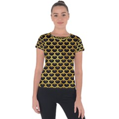 Scales3 Black Marble & Gold Paint (r) Short Sleeve Sports Top