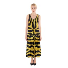 Skin2 Black Marble & Gold Paint (r) Sleeveless Maxi Dress