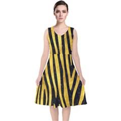 Skin4 Black Marble & Gold Paint V Neck Midi Sleeveless Dress