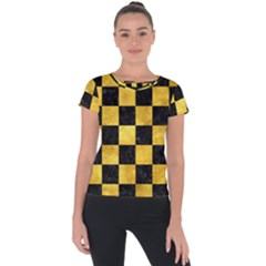 Square1 Black Marble & Gold Paint Short Sleeve Sports Top