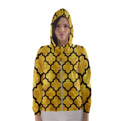 Tile1 Black Marble & Gold Paint Hooded Wind Breaker (women)
