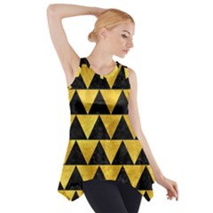 Triangle2 Black Marble & Gold Paint Side Drop Tank Tunic